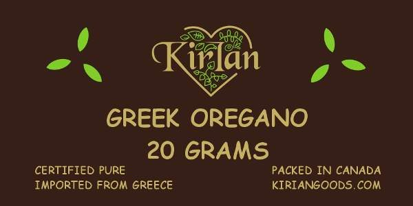 kirian greek oregano 20 gram label
