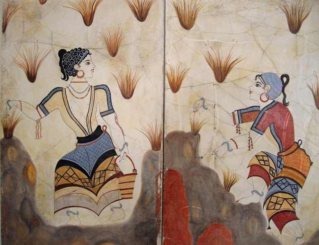 Palace of Knossos wall painting depicting women collecting saffron